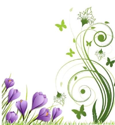 百合花丛手绘素材