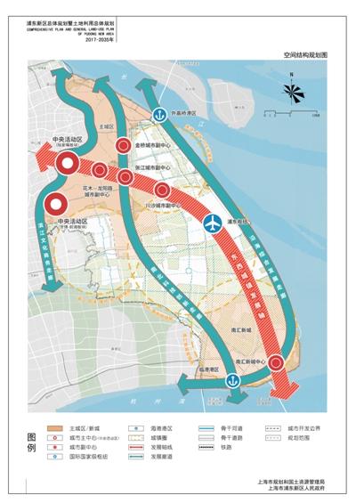 """浦东2035""""规划草案中的空间结构规划图."""
